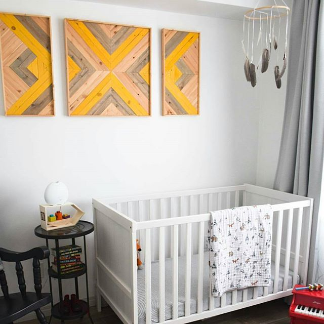 I love when I get to see where my pieces get to live. This is such a beautiful nursery, I'm honored to have one of my first pieces in there. #yeg #woodworking #woodart #custom #lath #woodartist #art #woodporn #lathart