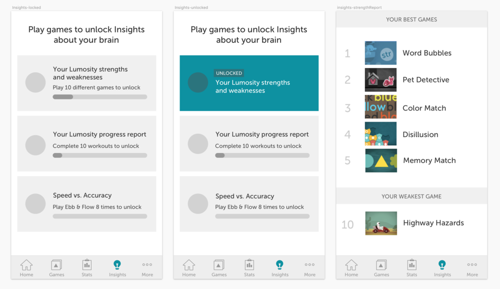 Including unlock criteria and a progress bar to further gamify the experience