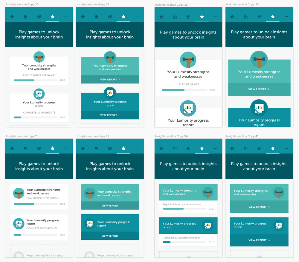 A few design explorations for the Insight report cards