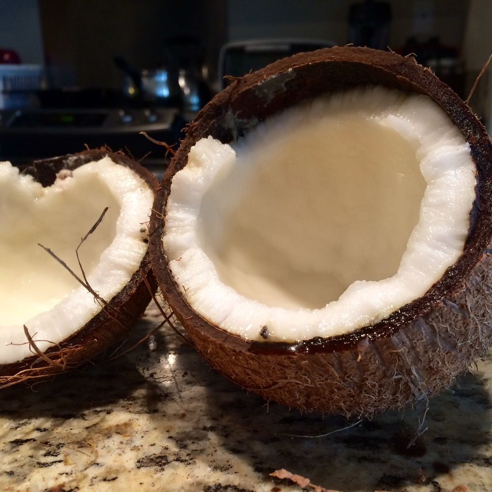 An open coconut