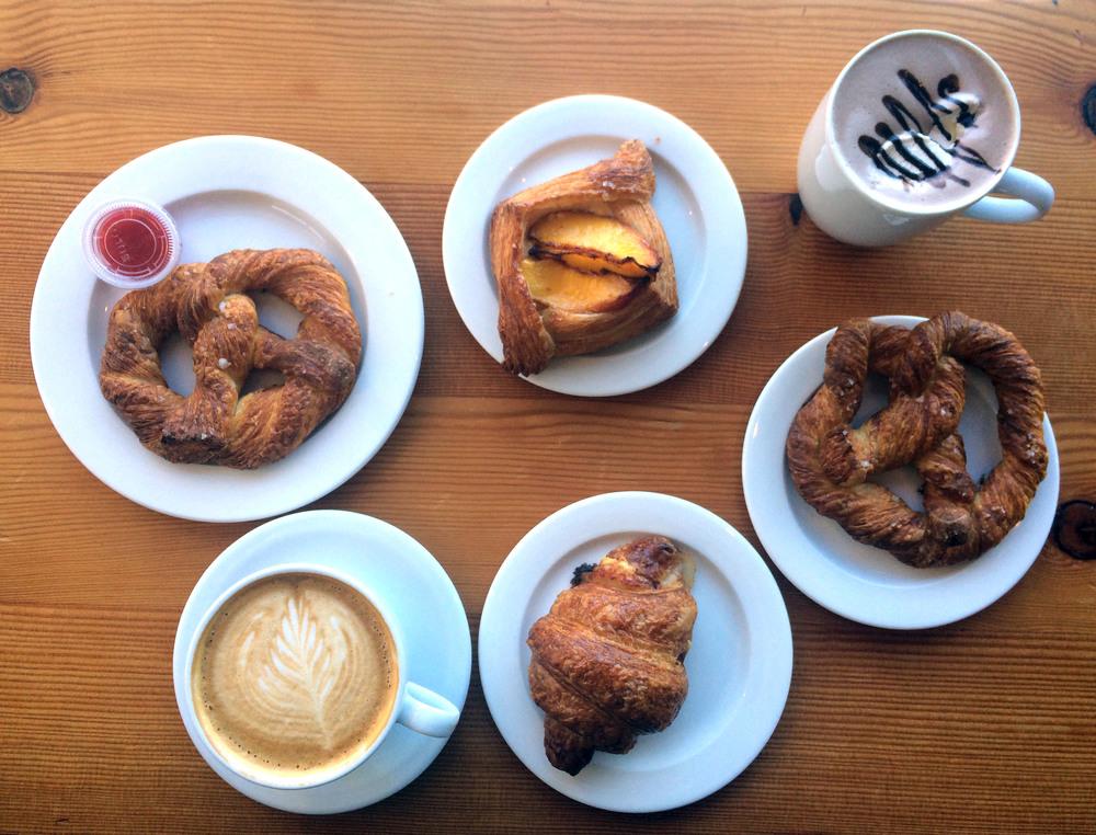 Cretzel ham and gruyére croissant, hot cocoa and a latté
