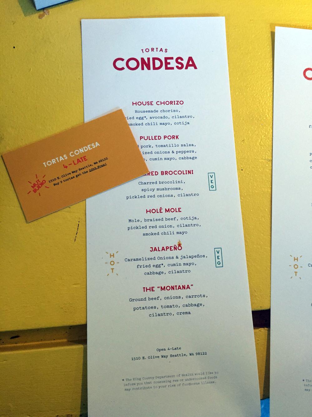 Tortas Condesa menu
