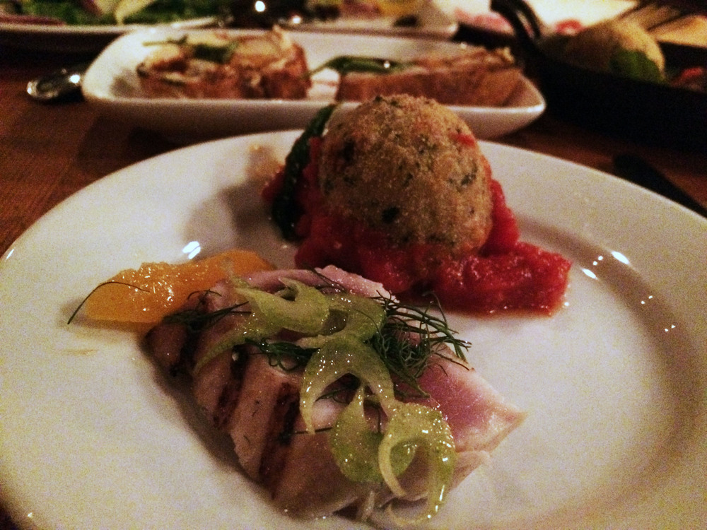 Albacore Crudo and Swiss Chard Arancini