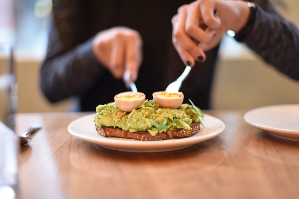 Avocado toast with a soft-boiled egg