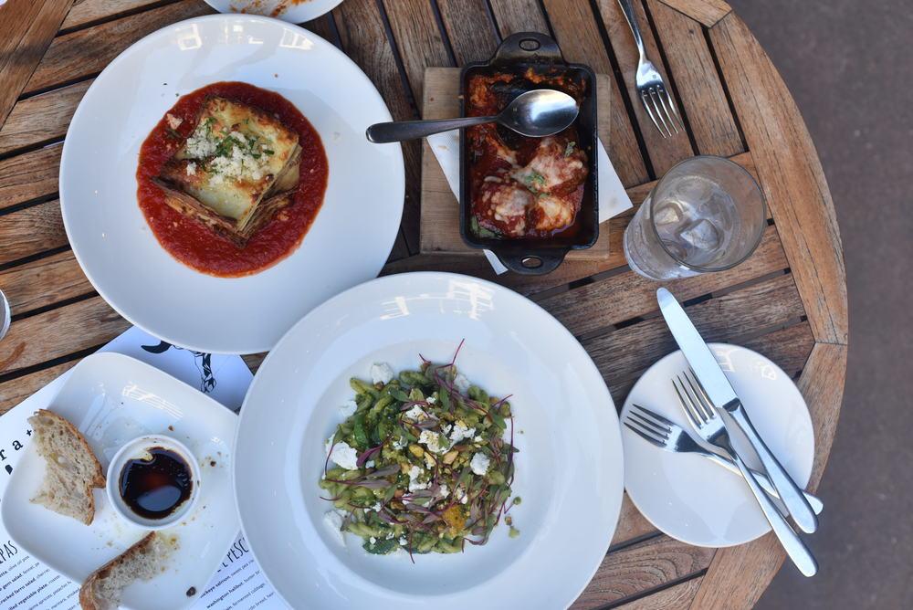 meatballs, gemelli and lasagna bolognese