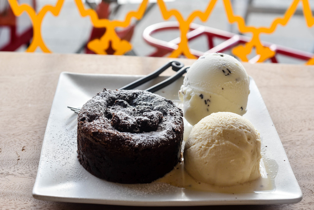 lava cake with stracciatella and sea salt caramel gelato