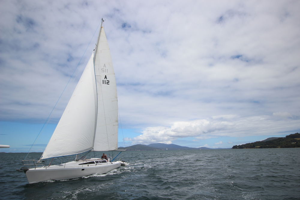 "Sailing around the D' Entrecasteaux Channel with ""Rat"" and Lise, a friend of ours  who sails this shmick, sleek 40 foot Adam's  ""Friday""."