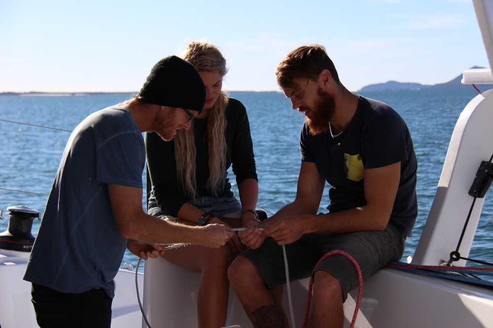 Mick, Holly and I assessing a snapped reef line.