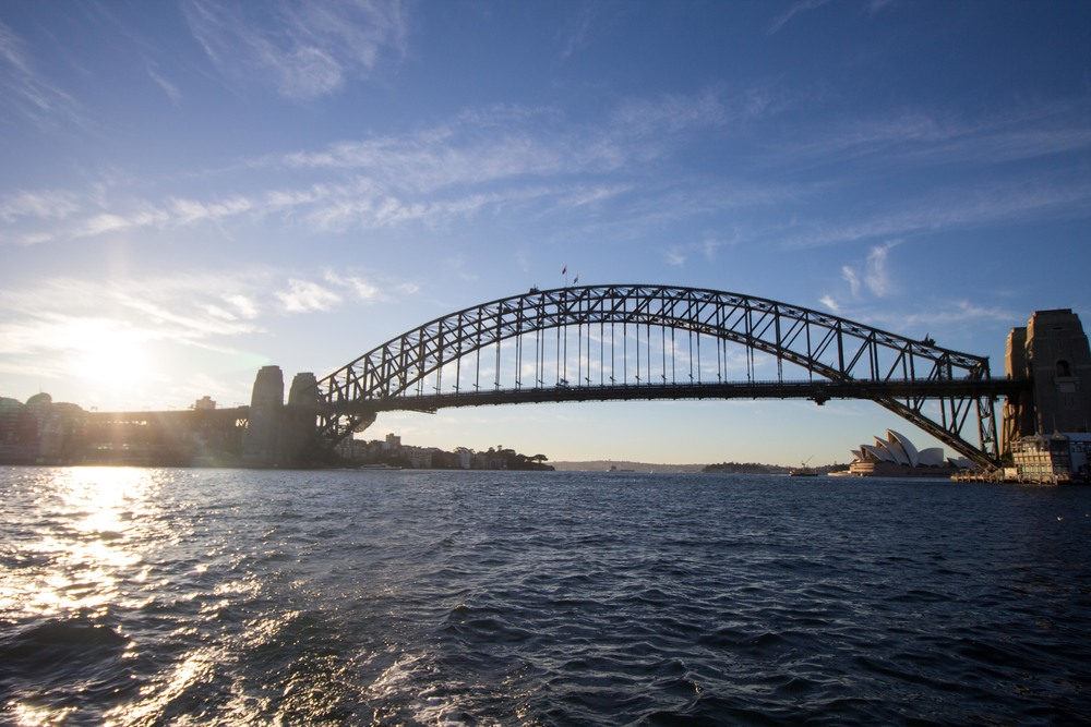 Sydney Harbor Bridge and the Opera house in the back ground.