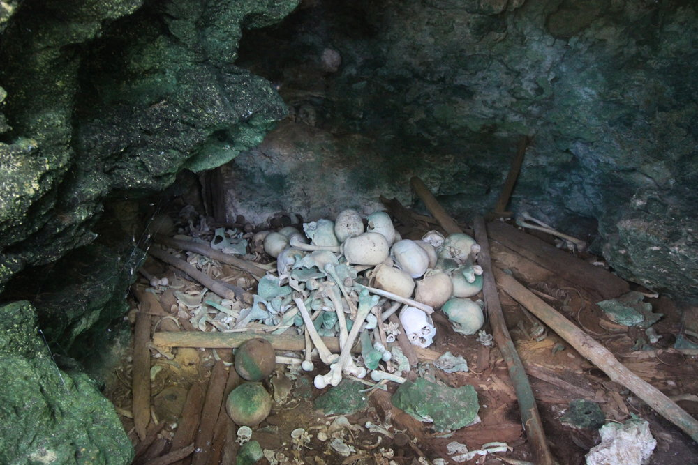 There were human bones and skulls of all different sizes in a cave on the hillside behind the village. Ty took us here to see, a little disturbing really, believed to be left behind from the cannibalism days but no evidence or story behind the pile of bones.