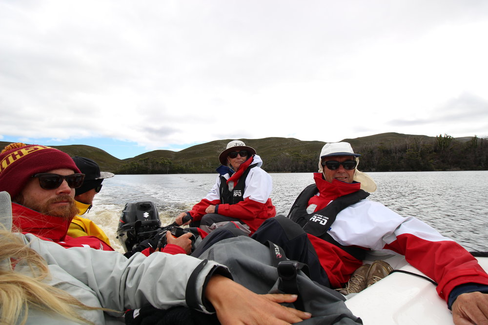 A fully loaded, cosy dingy ride up the Davey river with captain Lois driving.