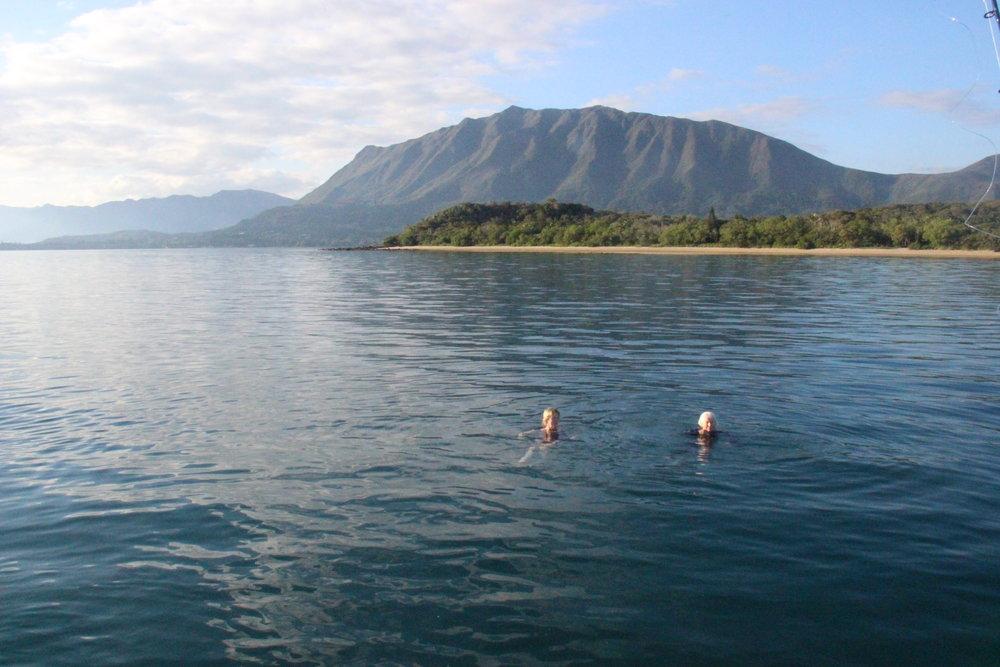 Sara and Lois enjoying a dip