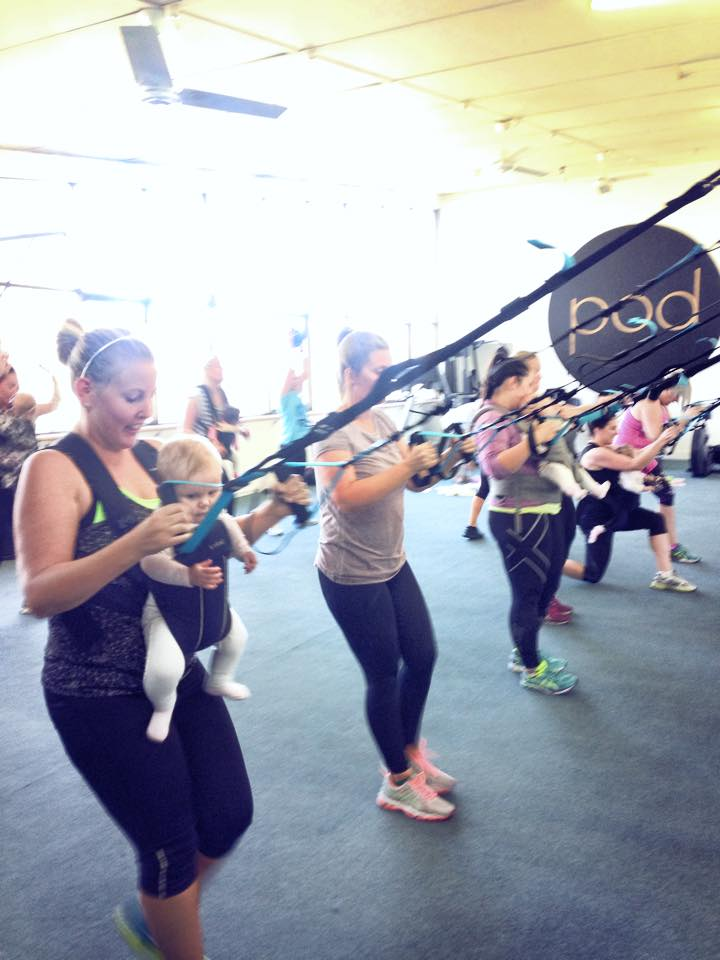 Instructing a mums and bubs suspension training class at POD fitness, one my my favourite classes
