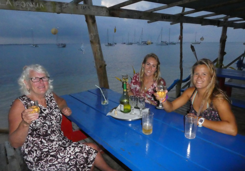 Lois, Liss and Marie celebrating in the Big Mamma Yacht Club