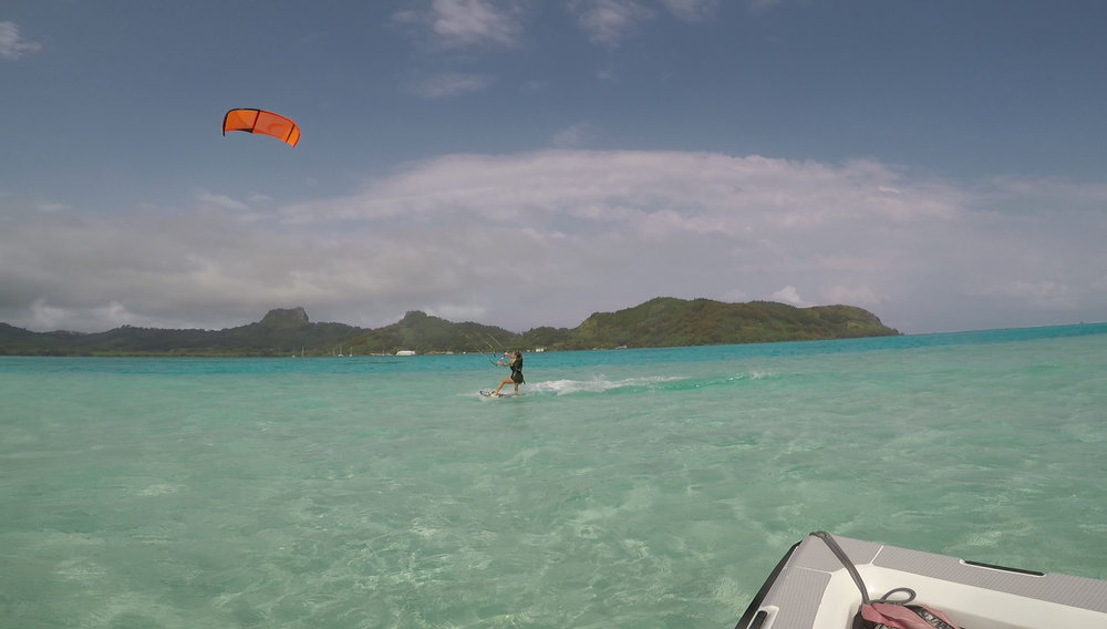 Kiting from the sand bar in fron tof the main anchorage