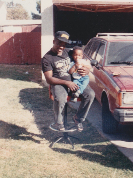 w/ pops on Hyde Park in Inglewood in 1989