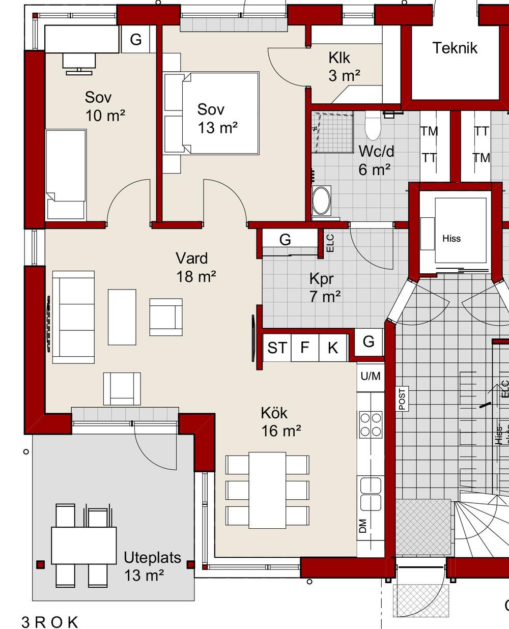 Ex. 3 rum och kök