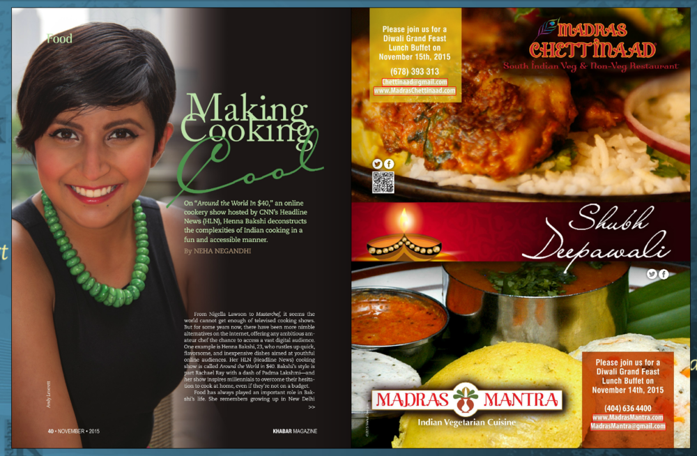 """Atlanta's Khabar Magazine feature on my cooking series, """"Around the World in $40"""" on HLN. Pg. 1"""