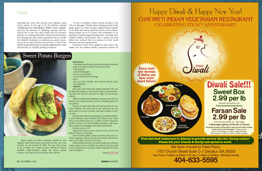 """Atlanta's Khabar Magazine feature on my cooking series, """"Around the World in $40"""" on HLN. Pg. 2"""