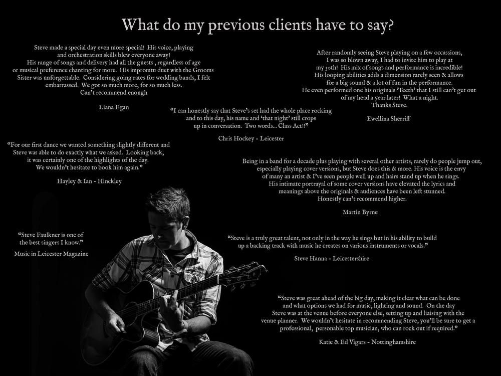 Steven Faulkner Music, Testimonials, Musician, Wedding Singer, Derbyshire, Nottinghamshire, Leicestershire, Staffordshire, England, UK, Europe
