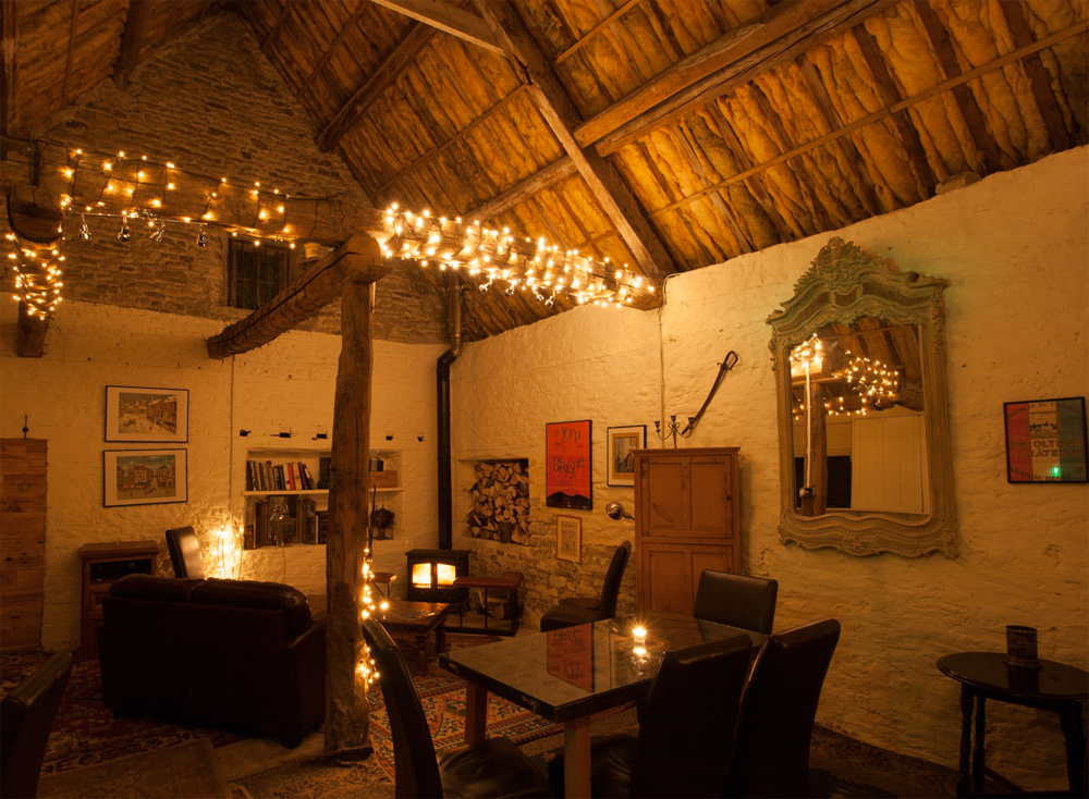 The Wine Barn at night