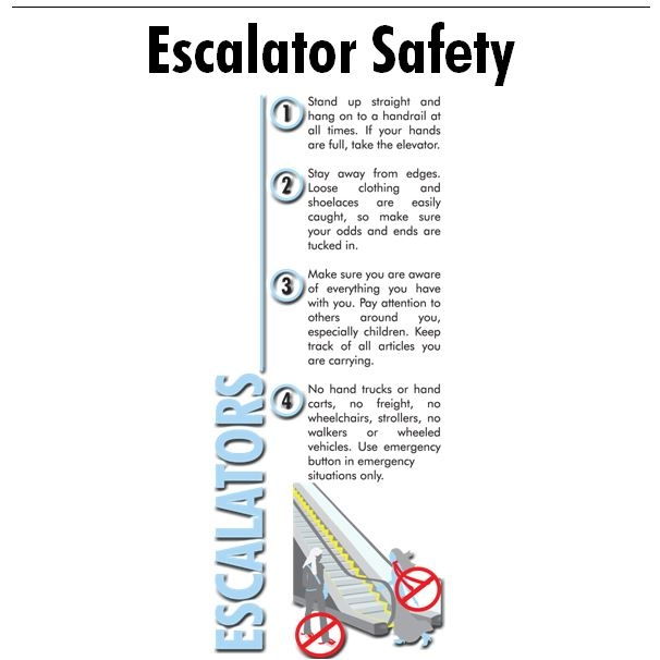 Some Colleges and Universities have escalators and others do not.  This too is another Word document that you can customize with an emergency number. These are not only good to post around escalators but they are also a perfect safety tool for any location where escalators are present.