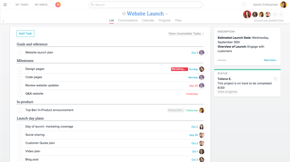 asana for remote teams