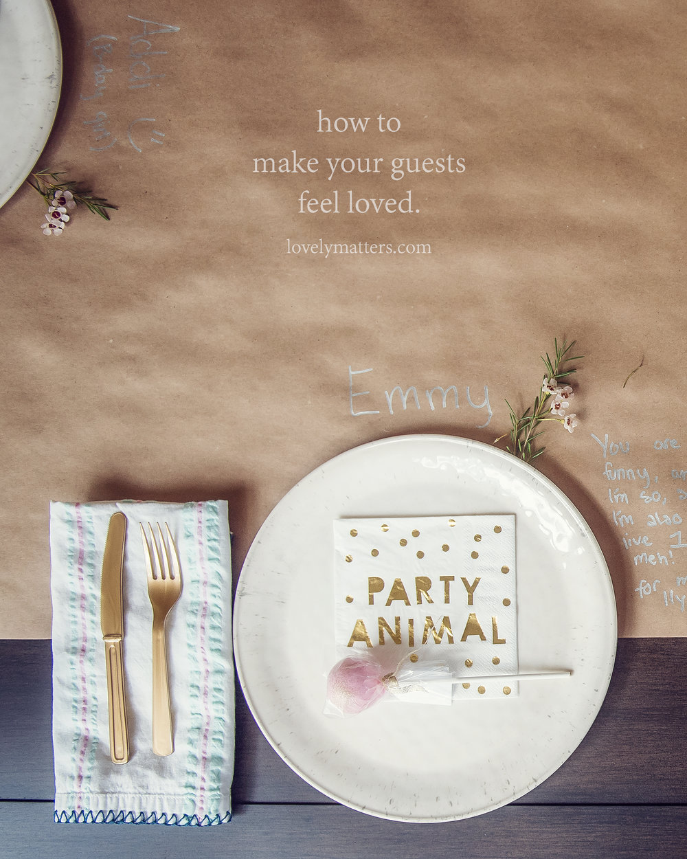 simple and thoughtful party decor. lovely matters by Heather Walker