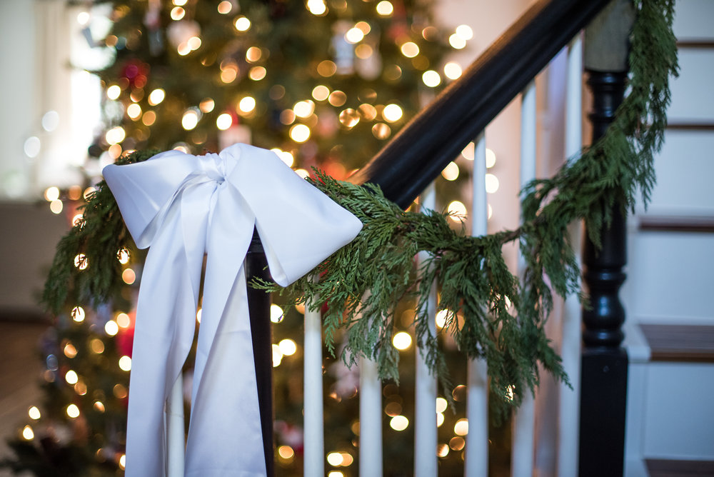"""I'm using fresh garland this year indoors and out with this 3"""" ribbon"""