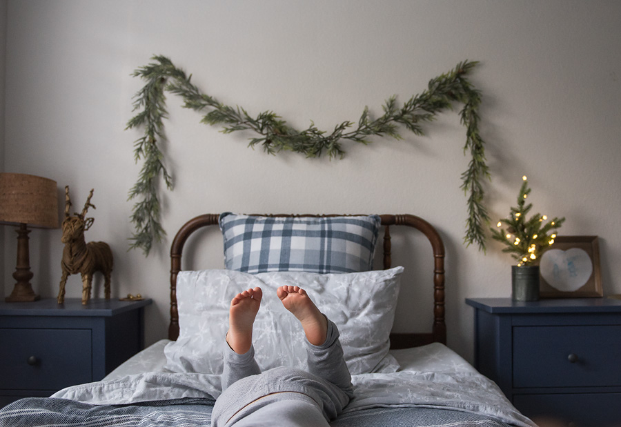 I spoke about these cozy sheets here and my little one selected this snowflake pattern on one of our Target runs. Tin can Christmas tree from Hobby Lobby with our favorite twinkle lights. Reindeer from Pottery Barn years ago that he immediately grabbed from the storage box and placed in his room.