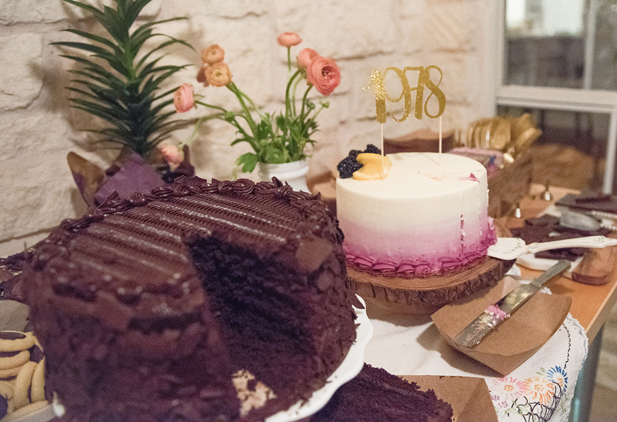"The chocolate cake was from Costco.  I have read that there's quite a following of people who worship this chocolate cake.  I get it now.   The blackberry Lemon cake was from Whole Foods for those who voted for variety.  It sold me at ""ombre""."