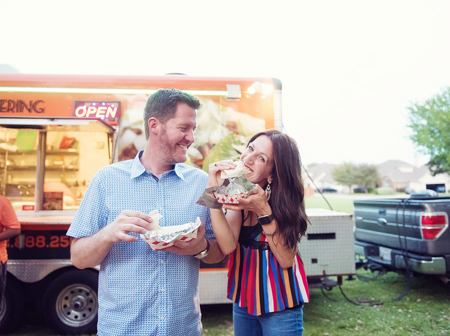 A taco truck made for an easy and fun way to serve our guests.  We have an open lot next to our home where the  Top Taco food truck  was able to park next to our party.