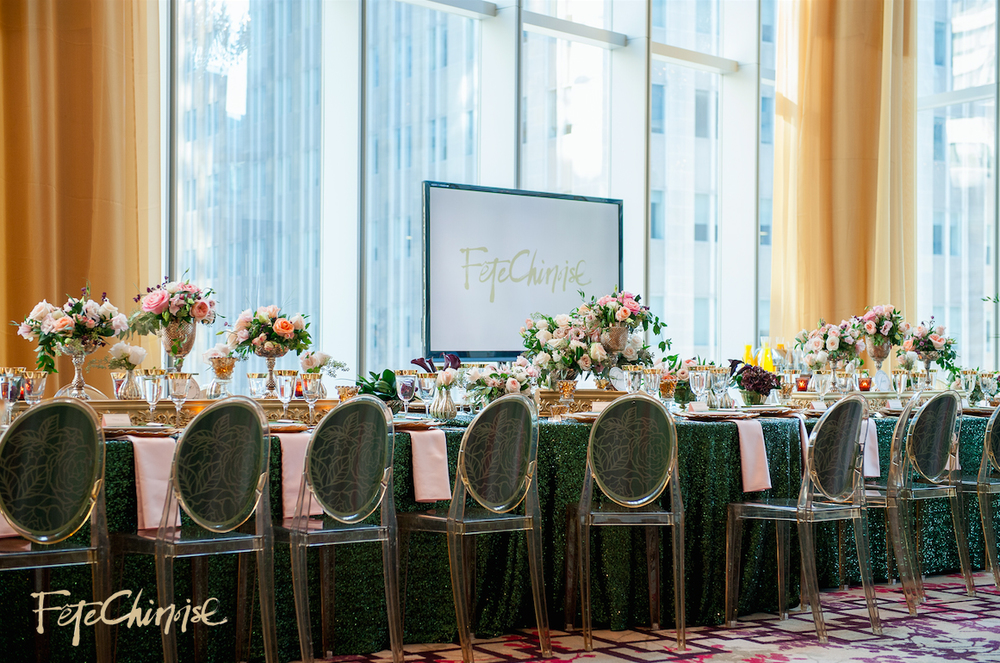 The Emperor's Fine Dining Hall inside Musuem Room: Design by Jackie O   and Bliss Toronto  , with chairback graphics designed by The Ferris Wheel Press   and printed by Event Graffiti. Linens by Linen Closet Inc.   Photo by Krista Fox Photography