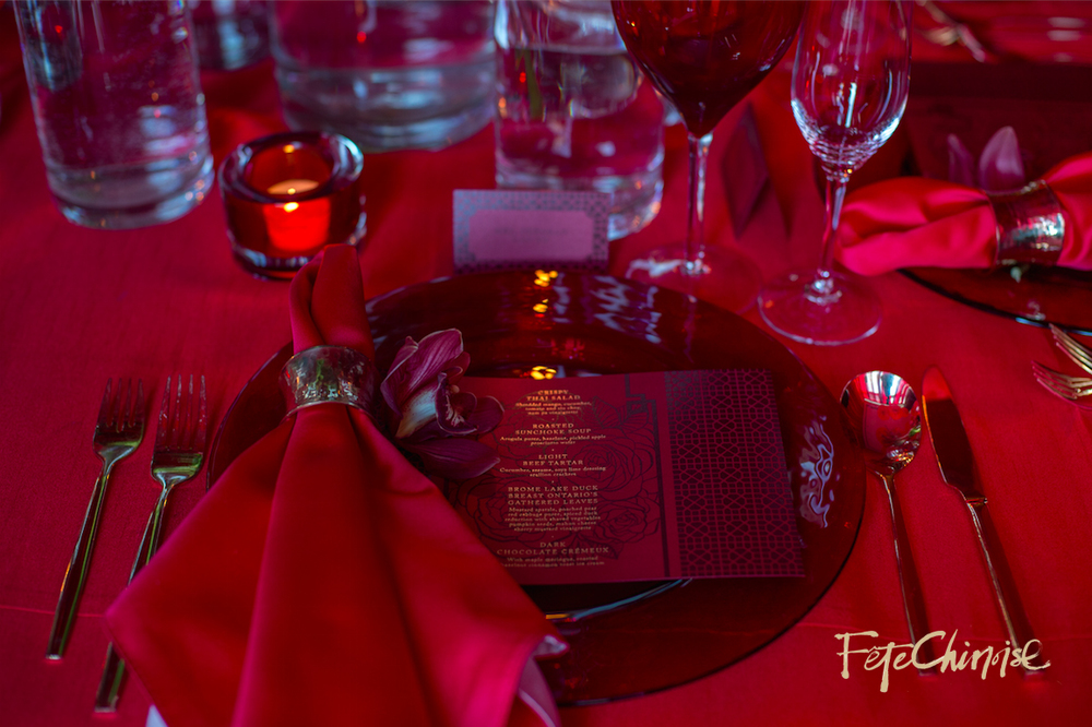 The Red Room I: Red on red on red, by d&d Floral Designs,   with stationery by The Ferris Wheel Press.    Photo by Krista Fox Photography.