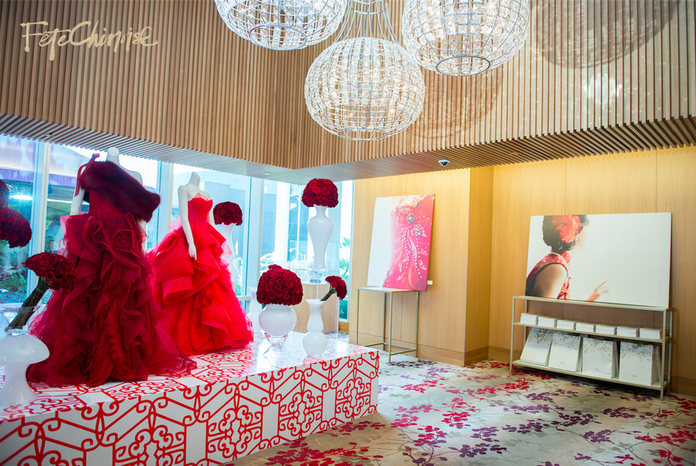 The Grand Entrance by Caspar Haydar Design, featuring gowns by Vera Wang. Custom pattern by Palettera Custom Correspondences on vinyl printing and installation by Event Graffiti.  Photo by Krista Fox Photography. 3rd floor of the Shangri-La Hotel, Toronto.