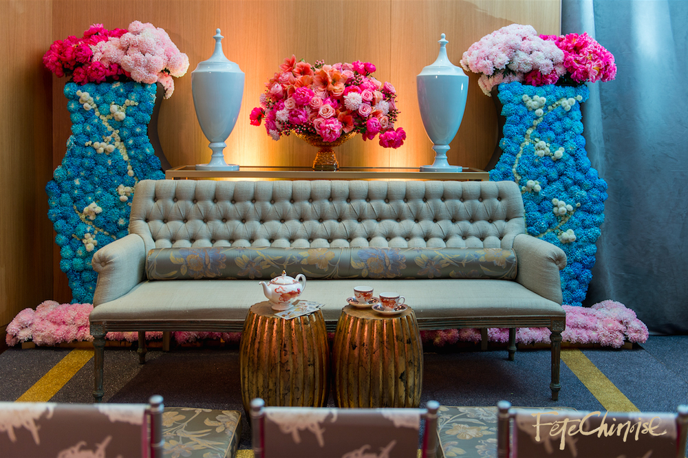 The Tea Room: beautiful room designed by Fiori Floral   and Spectacular Spetacular, featuring a custom carpet by Reznick Carpets  , special pieces from @Contemporary Furniture Rentals