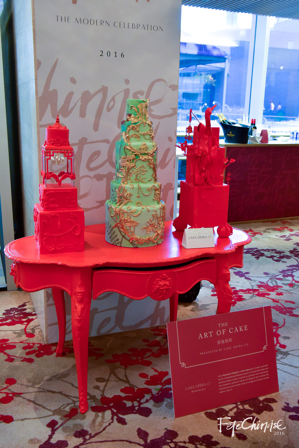 Cake Opera's trio of cakes inspired by red lacquer tables and a cake with colours and chinoiserie patterns inspired by this year's magazine cover.