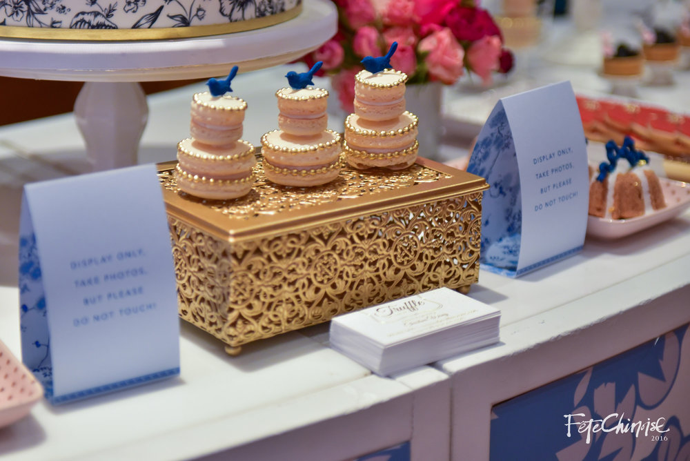 Little birds adorn the tops of the desserts, playing off of the red eggs to mark a new birth in the Chinese culture. Truffle Cakes and Pastry outdid herself with a gorgeous spread of cakes and desserts for a 100th day baby celebration.