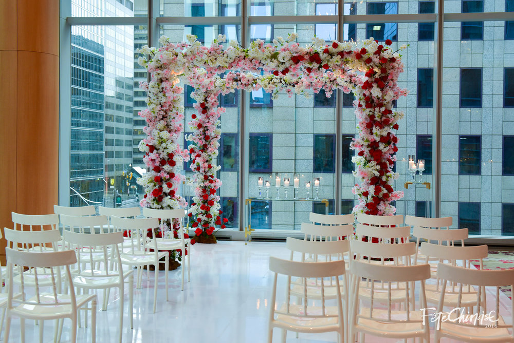 The Wedding Canopy — a new concept for the Chinese wedding to own its own identity, was designed by Melissa Samborski of One Fine Day Events and Pink Twig. Featuring a beautiful floor design by Ferris Wheel Press and printed by Event Graffiti. Chairs from Contemporary Furniture Rentals.