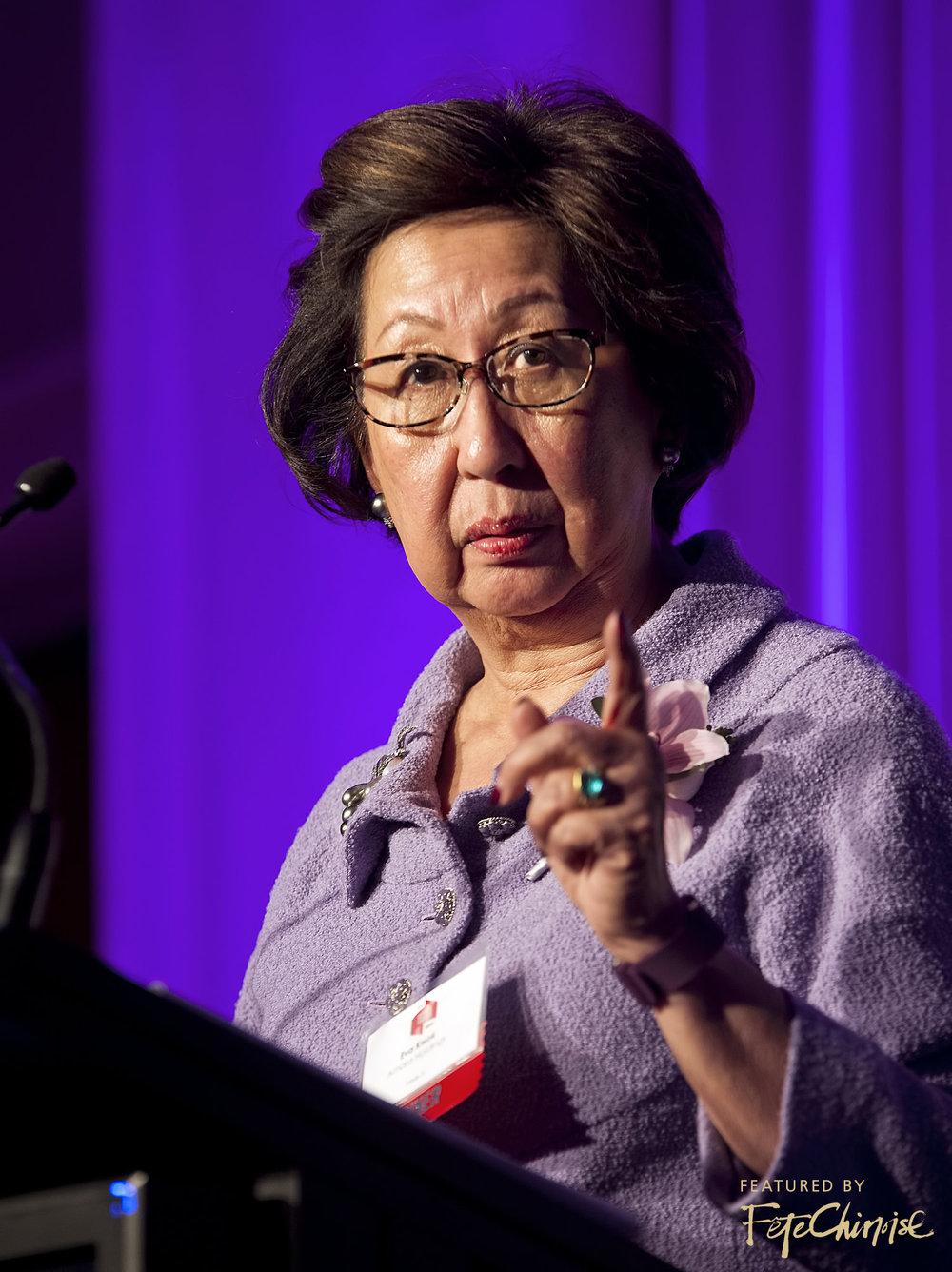 Eva Kwok giving her acceptance speech