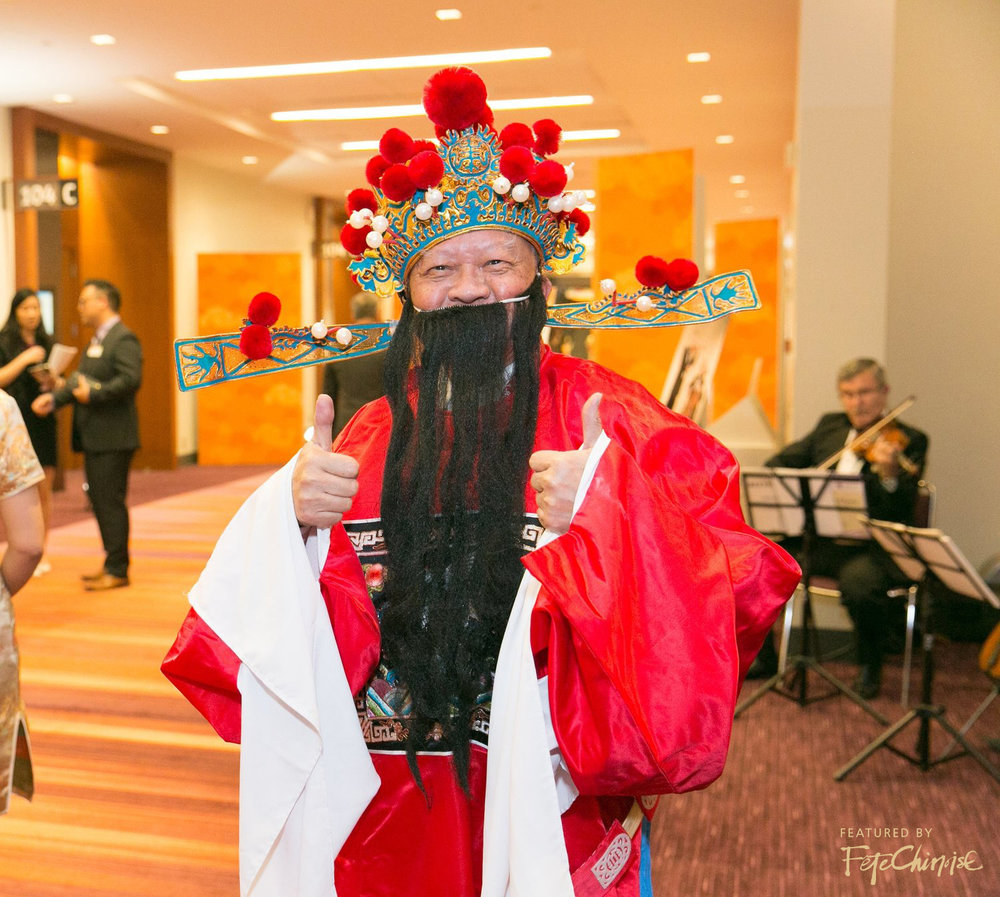 Allen Leung dressed as the God of Prosperity
