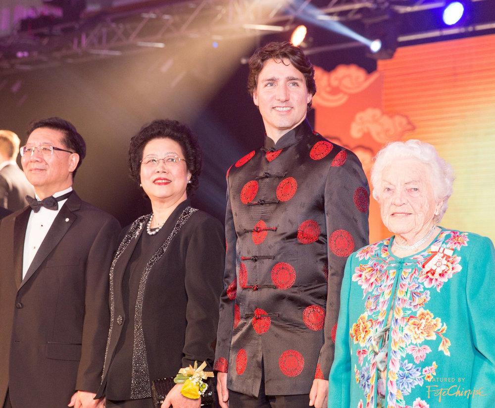 Dr. Joseph Wong, Christine Wong, Prime Minister Justin Trudeau, The Honourable Hazel McCallion