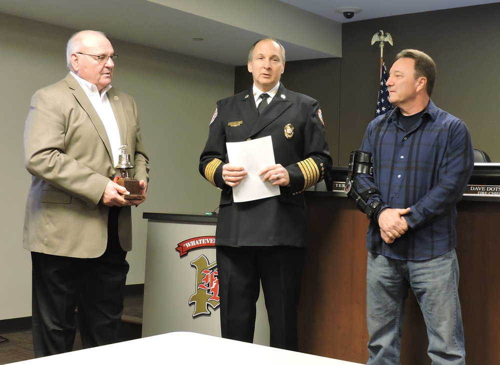 Left to Right:  Board Chairman Bill Esterline, Fire Chief Dave Dotson, Engineer Kerry Dick.