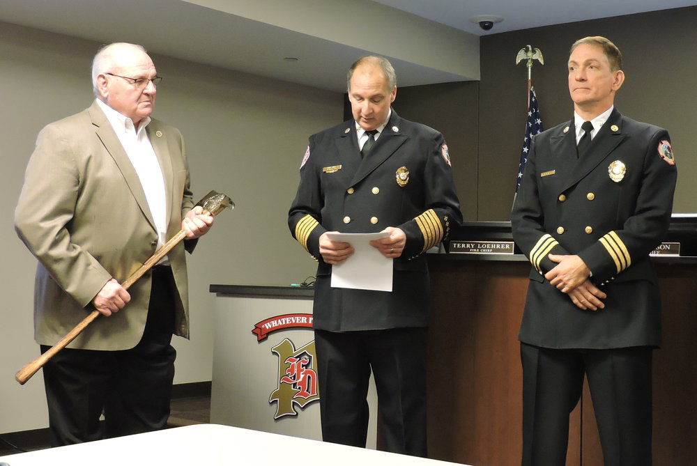 Left to Right:  Board Chairman Bill Esterline, Fire Chief Dave Dotson, Deputy Chief - Fire Marshal Paul Richard.