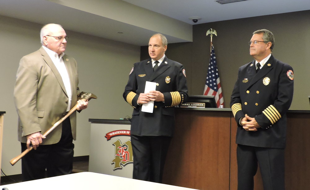 Left to Right:  Board Chairman Bill Esterline, Fire Chief Dave Dotson, Retiring Fire Chief Terry Loehrer.