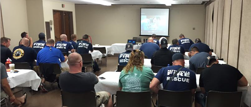 Pattonville Firefighter/Paramedics attending Advanced Cardiac Life Support Training while both on- and off-duty.