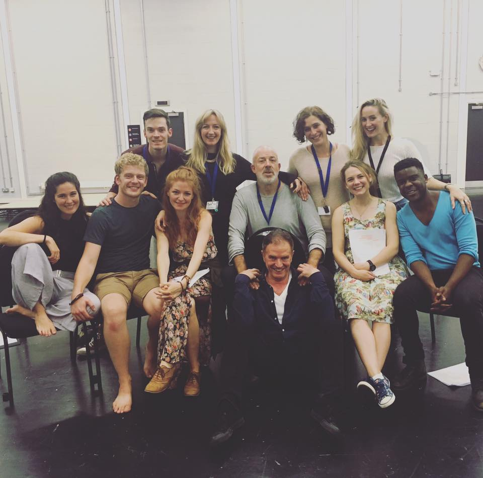 Back Row: Nick Barstow (Musical Director) Alex Young (Book, Lyrics and Music), Charlotte Westenra (Director), Kate Marlais (Book, Lyrics and Music)   Second Row: Victoria Serra (The Dancer), Chris Jenkins (The Soldier), Laura Pitt-Pulford (The Farmer), Richard Heap (The Artist), Gina Beck (The Debutant), Ashley Zhangazha (The Engineer).   Front row: Warner Brown (S+S Sponsor)