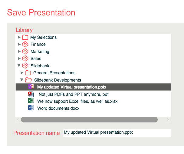 Update an existing Virtual presentation and keep the same filename