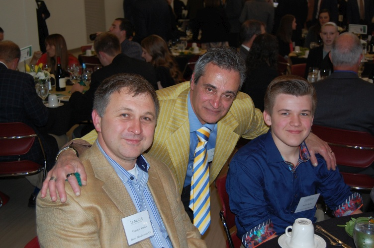 Vladimir, Angelo and Andrii enjoying the evening at LeMoyne College