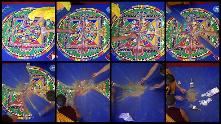 Tibetan Monk Sand Mandala Creation and Destruction Process